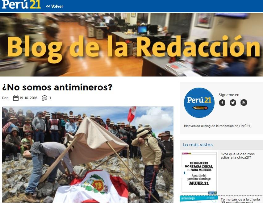 Nueva respuesta a director de Perú 21 - Por José De Echave